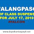 #WalangPasok: List of class suspensions for Wednesday, July 17