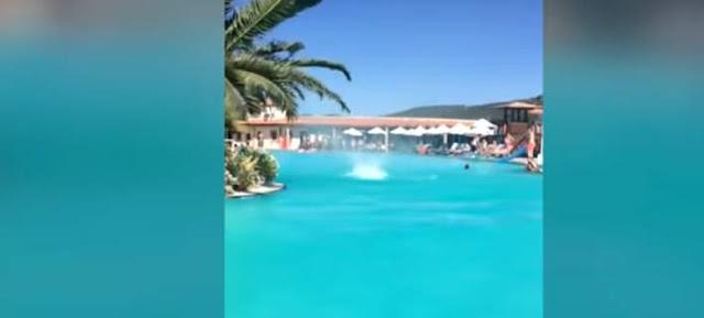 Κι όμως συνέβη - Ανεμοστρόβιλος σε πισίνα ξενοδοχείου στη Ρόδο [βίντεο]