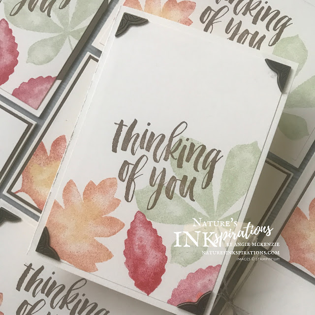 By Angie McKenzie for the Third Thursdays Blog Hop; Click READ or VISIT to go to my blog for details! Featuring the Love of Leaves and Rooted in Nature stamp sets from Stampin' Up! for creating seasonal note cards; #leaves #naturesinkspirations #seasonalcards #nature #loveofleavesstampset #rootedinnaturestampset #linenthread #antiquedcornersandslides #thanksgiving #fallcards #thinkingofyoucards #stampinup #veryvanillanotecardsandenvelopes #makingotherssmileonecreationatatime