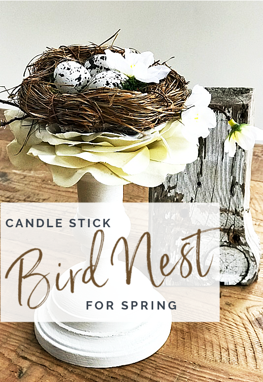 Candle stick birds nest with overlay
