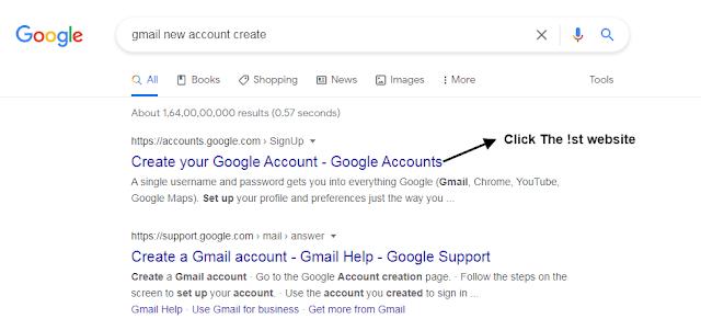 Step #2 Gmail ID Create करने के लिए इस Url पर जाएं