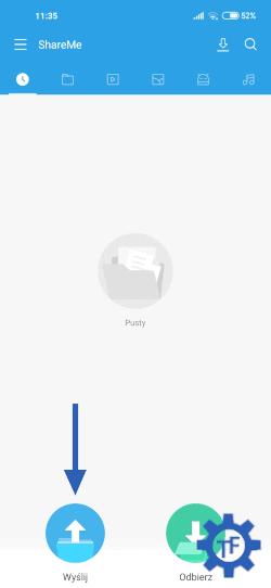 Xiaomi ShareMe Przycisk Wyślij