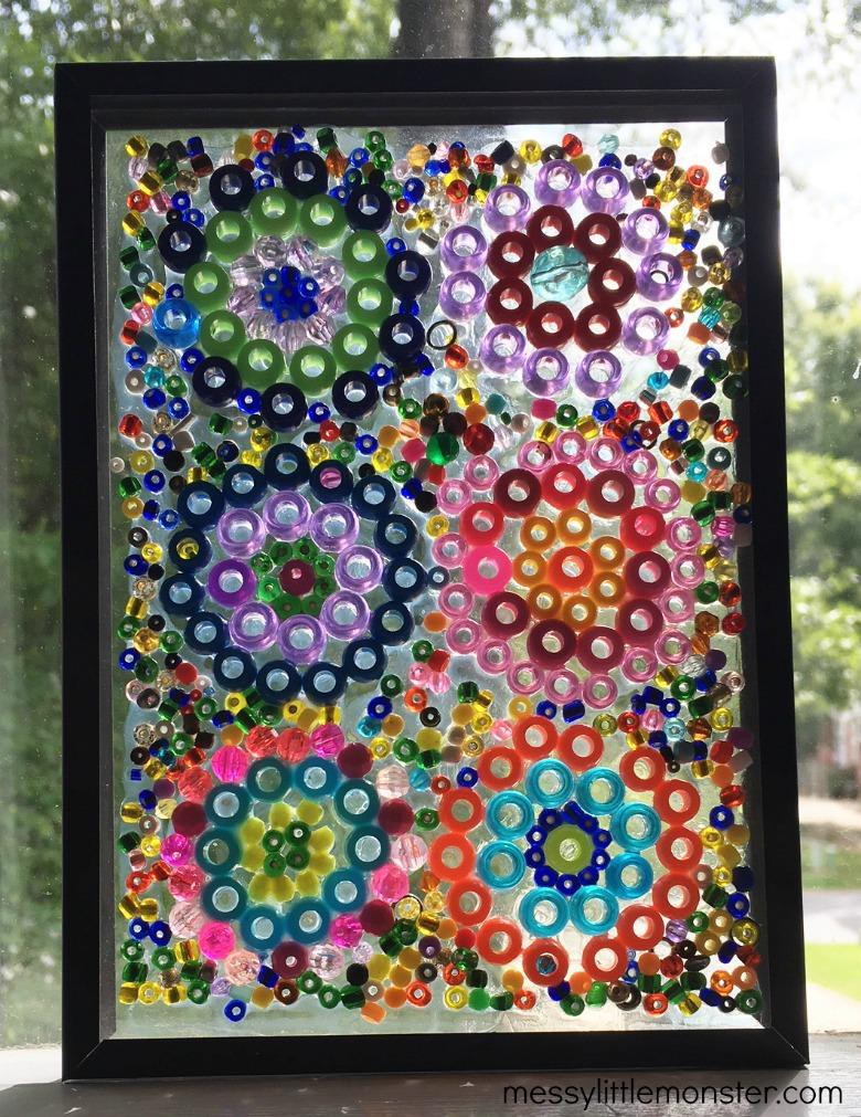 Kandinsky circles suncatcher bead craft for kids