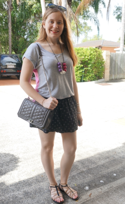 grey tee, jeanswest parker black printed summer shorts outfit RM love bag | away from blue