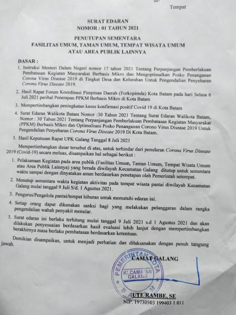 Camat Galang Terbitkan Surat Edaran Terkait Penutupan Kawasan Pariwisata Pantai di Barelang Untuk Sementara