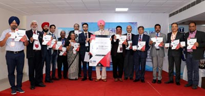 CT University Chancellor Charanjit S Channi, MD Manbir Singh, Vice Chancellor Dr Harsh Sadawarti along with dignitaries during book proceeding of IMARC 2019