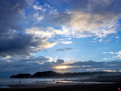 Setting sun in late summer: Yuigahama-beach