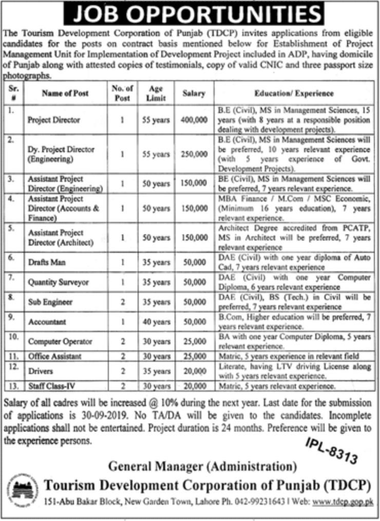 Tourism Development Corporation of Punjab Latest Vacancies 2019