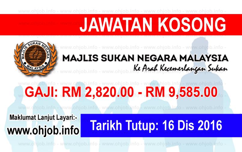 Jawatan Kerja Kosong Majlis Sukan Negara (MSN) logo www.ohjob.info disember 2016