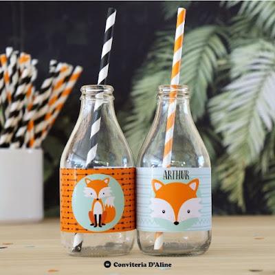 festa raposinha adesivo personalizado decoracao papelaria