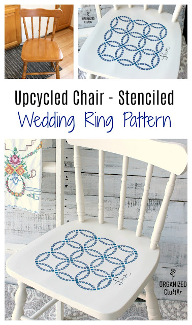 Upcycled Garage Sale Chair With Stenciled Wedding Ring Quilt Pattern #dixiebellepaint #weddingringpattern #weddingringquilt #stencil #upcycle #garagesalefind #furnitureupcycle