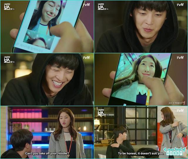 ra won weird style selfie for hwang gi - My Shy Boss kiss korean drama