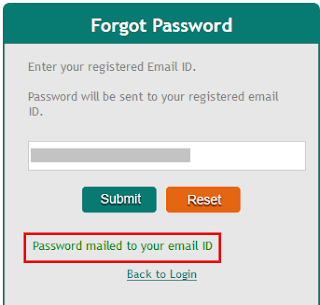 myCAMS Forgot Password Mailed