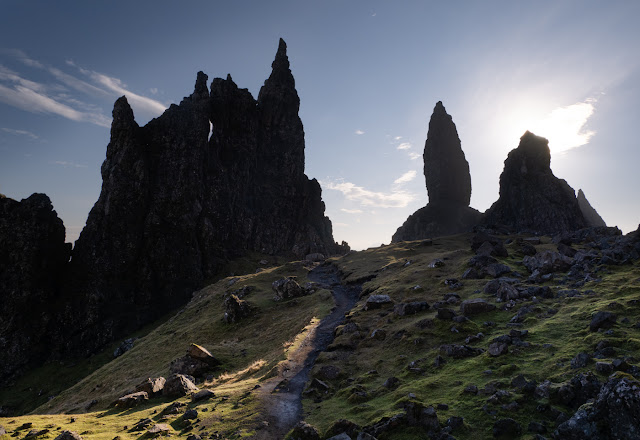 The cathedral-like spires of the Old Man of Storr, Isle of Skye.