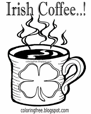 Lucky shamrock logo Irish coffee cup colouring book images Ireland printables for teenager's drawing