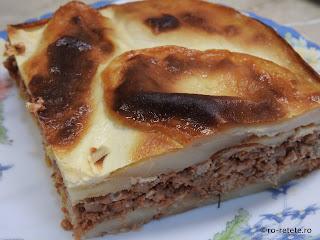 Musaca de cartofi cu carne tocata de porc reteta de casa traditionala dobrogeana la cuptor retete mancare moussaka musakka,