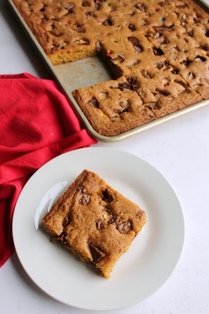 tray of blondies with one piece missing