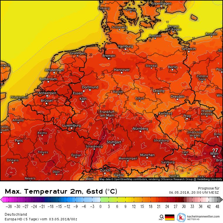 Höchsttemperaturen Deutschland 06.05.2018 nach Europa HD, kachelmannwetter.com