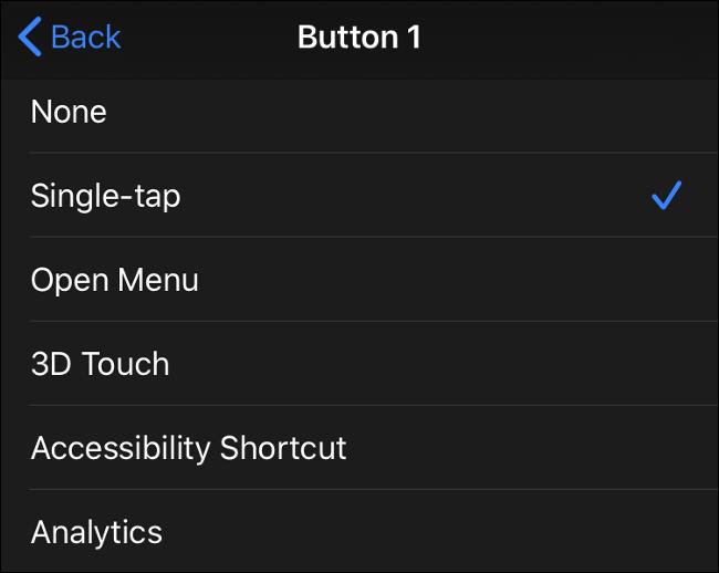 مدخلات زر الماوس المتاحة في iOS 13 (iPadOS 13)