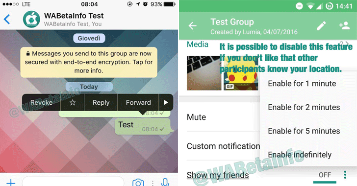 WhatsApp may let you Recall Sent Messages and Track Friends Location in Realtime