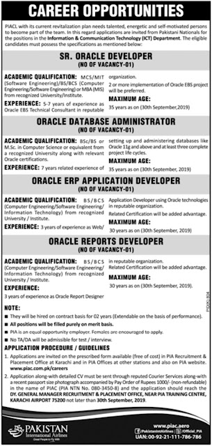Pakistan International Airlines PIA Jobs 2019 Application Form