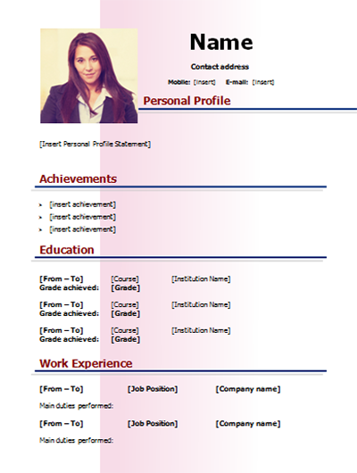 download cv simple model word and color pink 2 pages