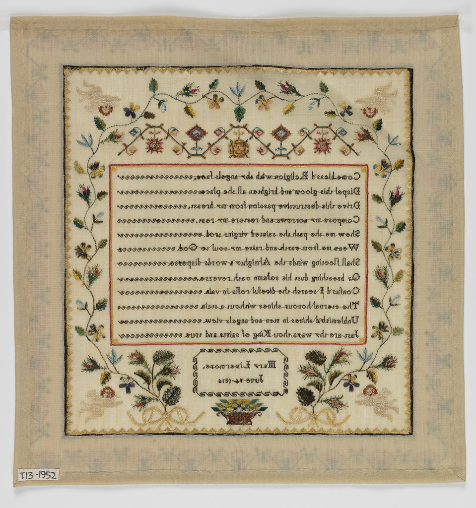 Mary Livermore Sampler featured in Sampled Lives, an exhibit at the Fitzwilliam Museum