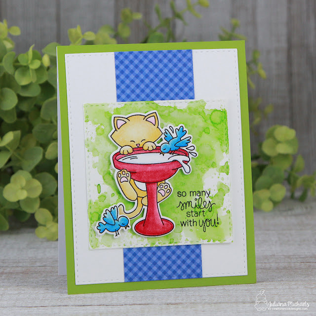 So Many Smiles Card by Juliana Michaels featuring Newton's Nook Designs Newton's Birdbath stamp and die set