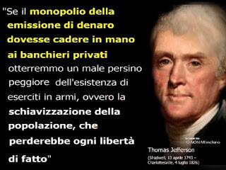 Thomas Jefferson : Denaro in mano ai Banchieri Privati = Schiavizzazione della Popolazione e Perdita della LIBERTA, THOMAS%2BJEFFERSON'