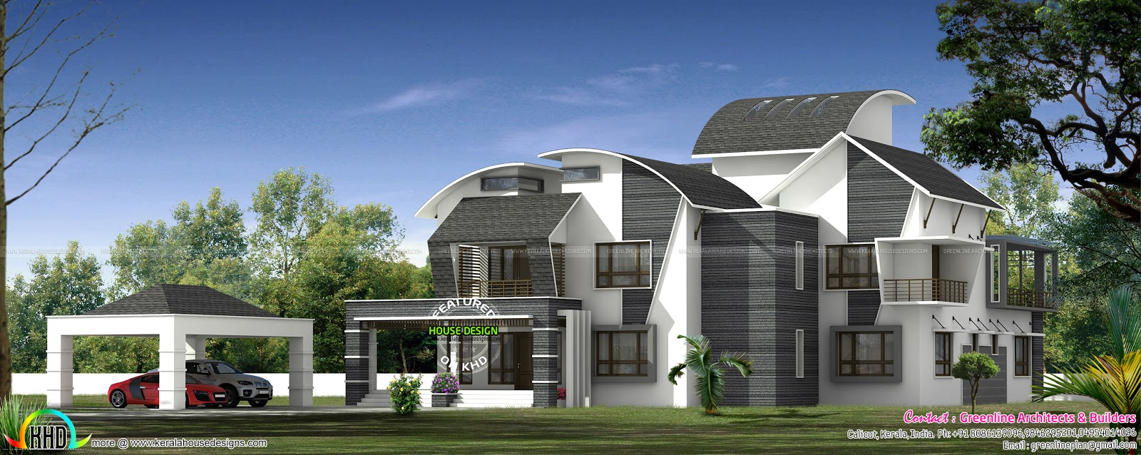 Ultra modern contemporary style luxury home kerala home for Ultra modern home plans