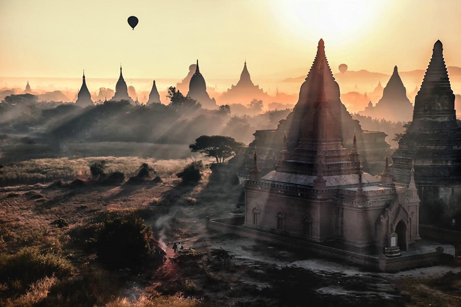 pagody,balony,bagan,świt