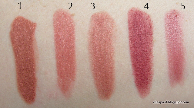 Swatches of 1. Urban Decay Vice Lipstick in Stark Naked; 2. Model Co. Party Proof Lipstick in Kitten; 3. Burt's Bees Lip Crayon in Sedona Sands; 4. Maybelline Creamy Matte Touch of Spice; and 5. Nars Satin Lip Pencil in Rikugien.