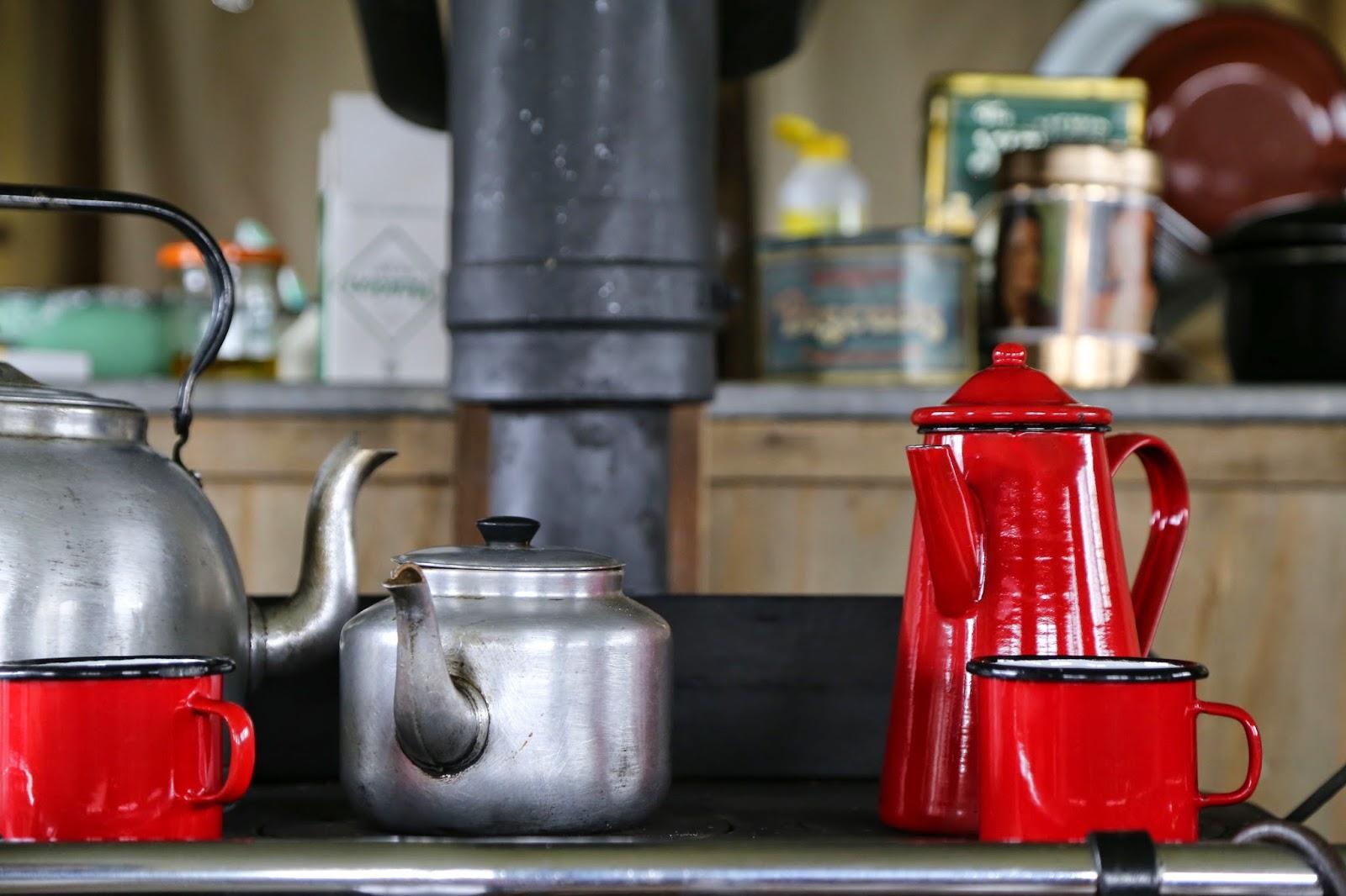 Wood stove, enamel ware, Feather Down farms pic: Kerstin Rodgers/msmarmitelover