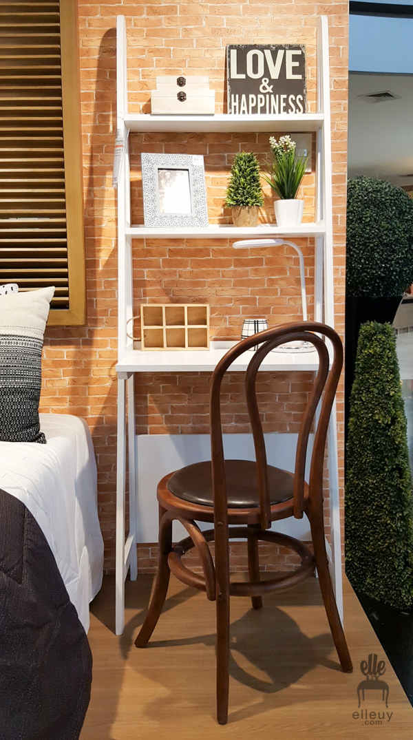 ladder desk, wood bentwood chair, brick wall paper, study set-up
