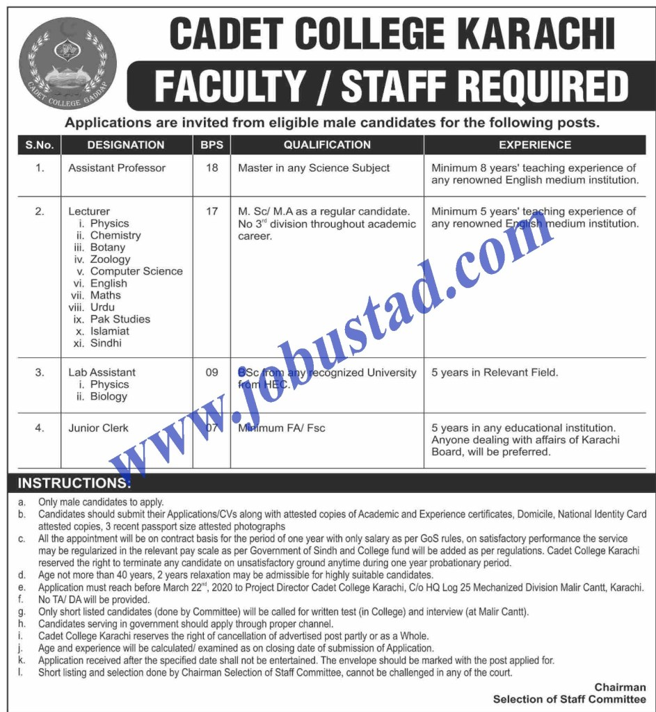 Jobs in Cadet College Karachi 2020