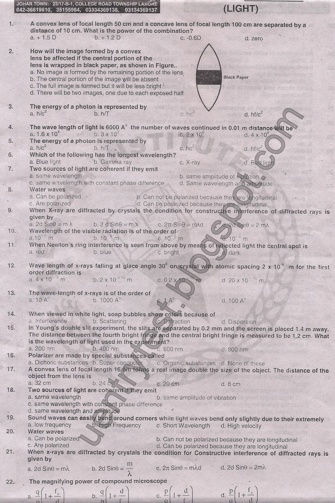 The Star Institute Entry Test Physics (Unit 4) [Light