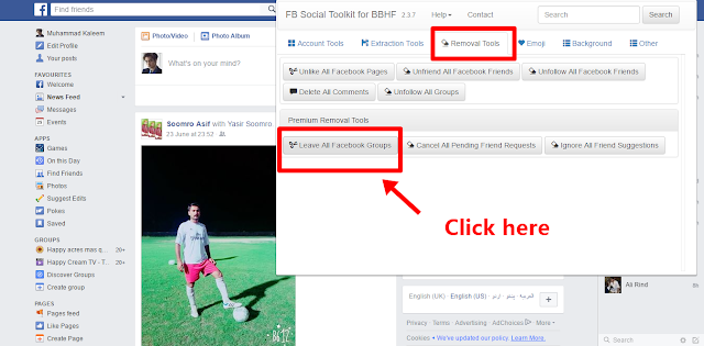 Leave all Facebook Groups removal tool