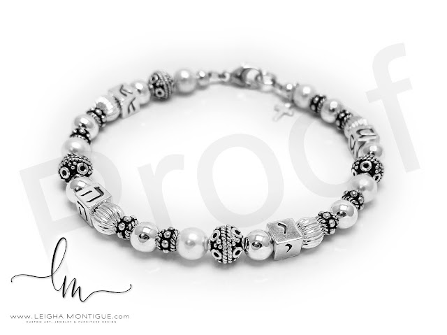 Sterling silver, Pearl and Bali Bracelet with a Tiny Cross Charm.