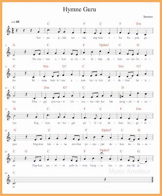 not balok lagu hymne guru