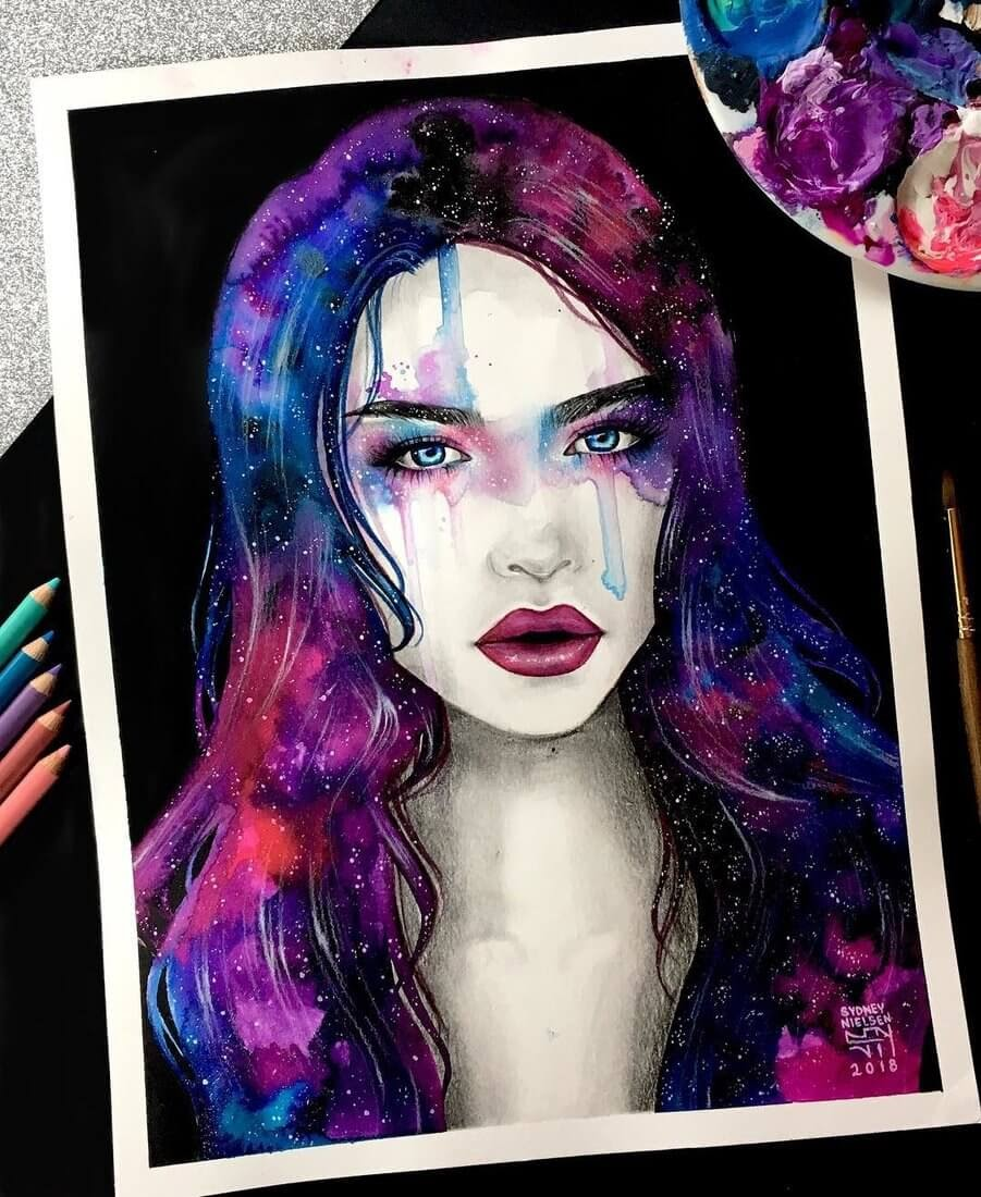 12-New-Galaxy-Girl-Sydney-Nielsen-How-Colors-Change-the-Portraits-you-Draw-www-designstack-co