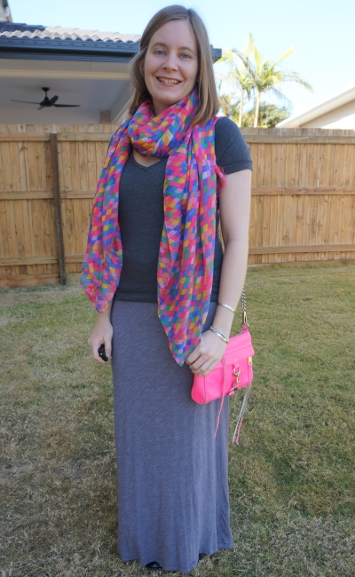 grey tee with pinstripe maxi skirt neon mini MAC bag and pink diamond scarf | away from blue