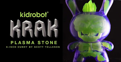 "Kidrobot Exclusive KRAK Plasma Stone Edition Dunny 8"" Glow in the Dark Vinyl Figure by Scott Tolleson"