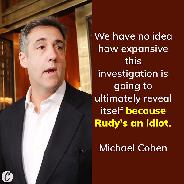 We have no idea how expansive this investigation is going to ultimately reveal itself because Rudy's an idiot. — Ex-Trump lawyer and convicted felon Michael Cohen
