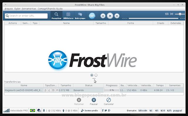 Frostwire executando no LMDE 2