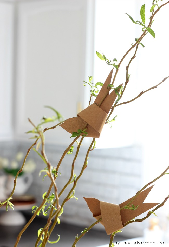 Paper birds on Spring branches