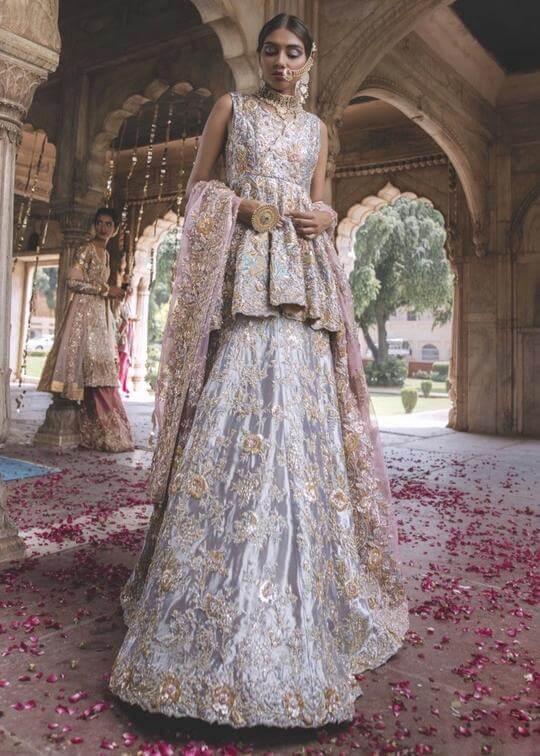 Zainab Salman Bridal Peplum with Lehenga
