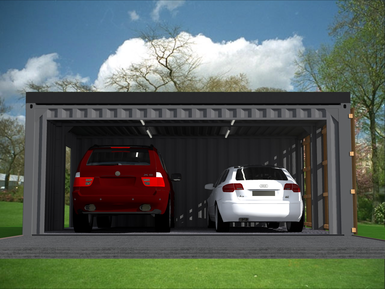 garage carport 2 voitures en containers. Black Bedroom Furniture Sets. Home Design Ideas