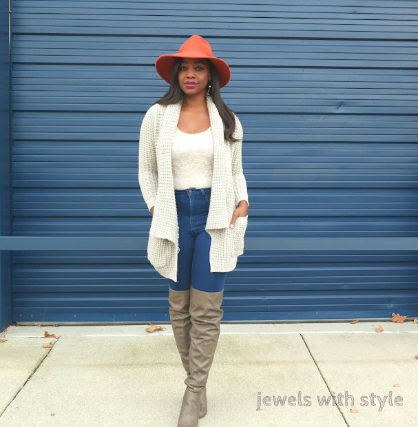 orange fedora hat, fall boots, fall boot guide, winter boots, winter boot guide, brown over the knee boots, how to wear over the knee boots, over the knee boots outfit idea, jewels with style, columbus personal stylist, columbus wardrobe stylist, fall outfit ideas, sweater outfit ideas