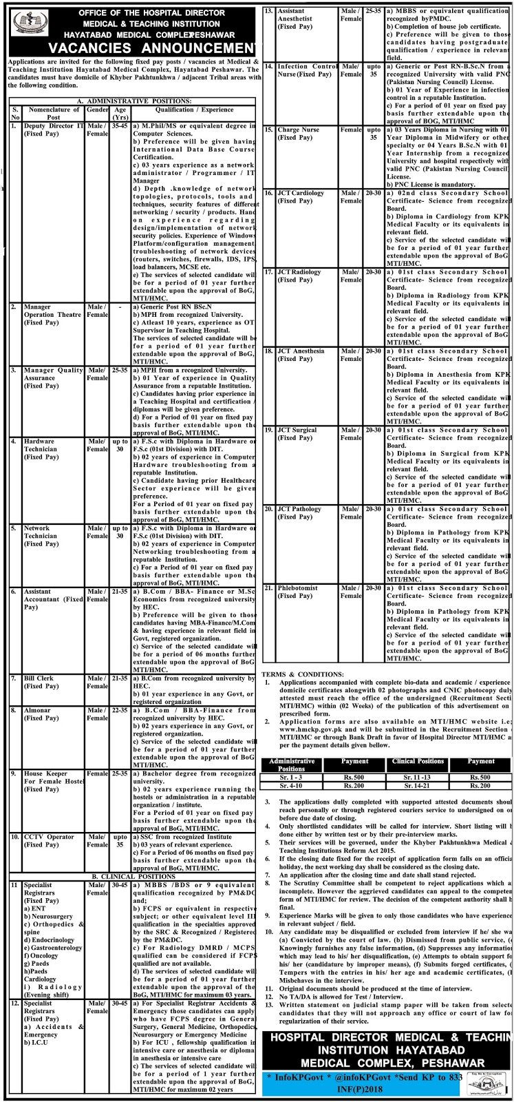 Hayatabad Medical & teaching Institution Complex Peshawar jobs 2 may 2017