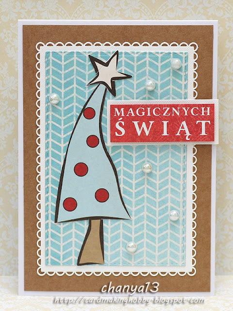 kartka świąteczna ozdobiona choinką